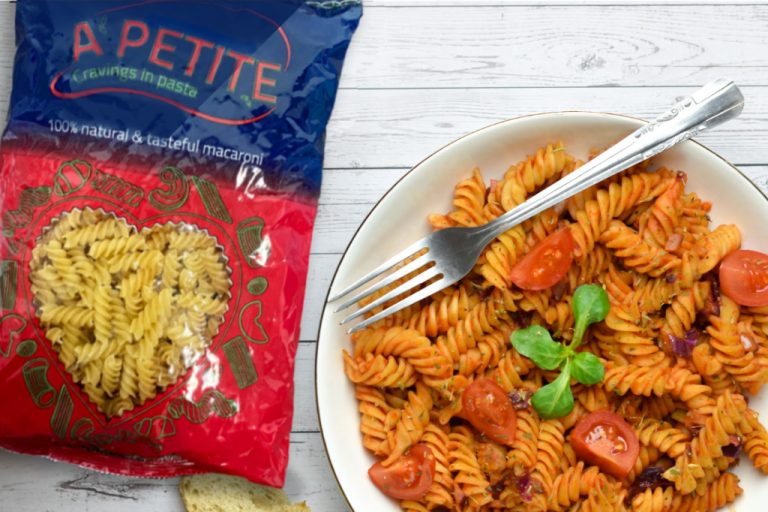 fusilli with red sauce and tomato