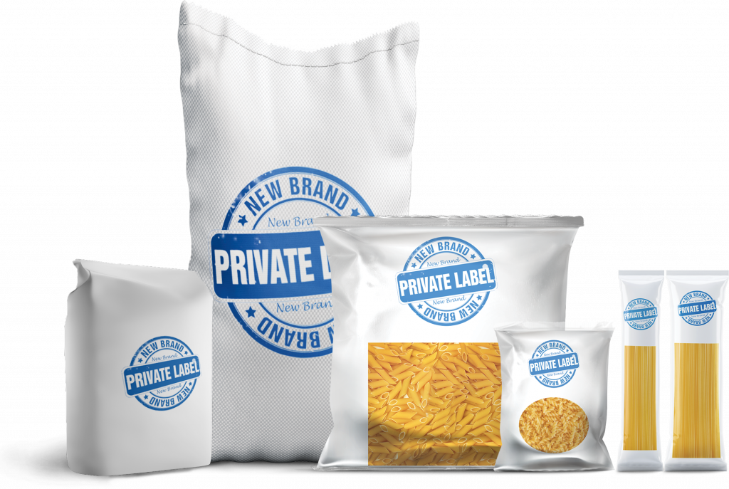 a bag of flour and pasta with it is written private