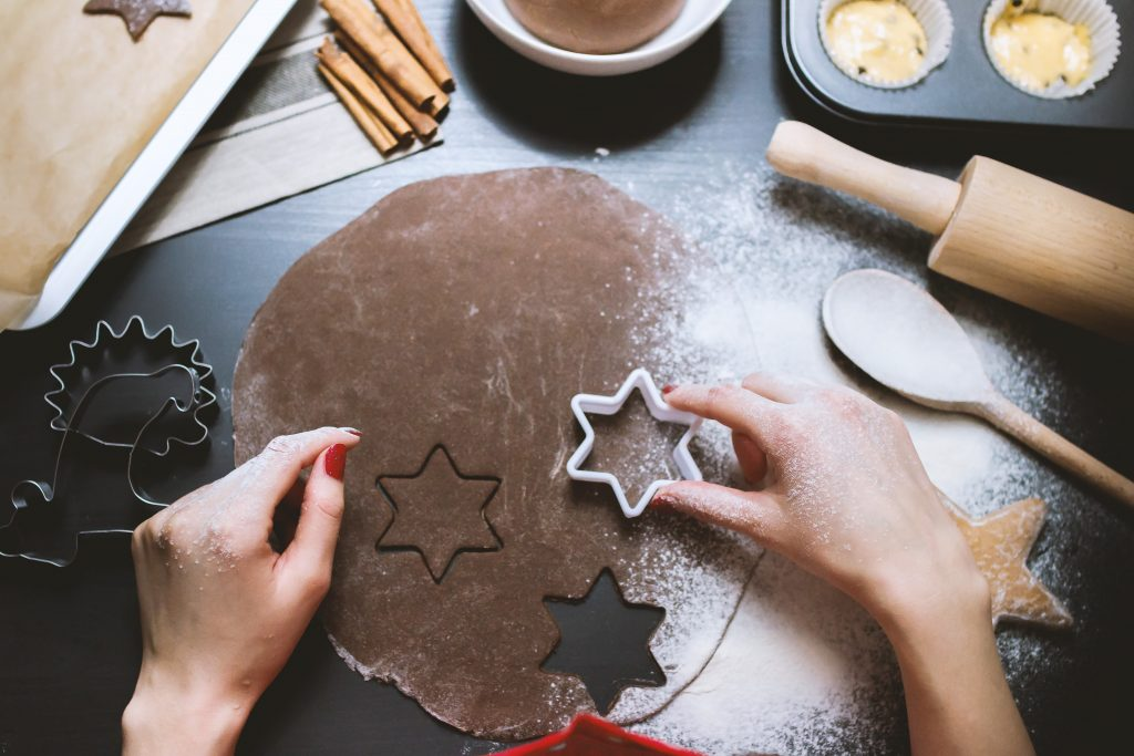 an image with biscuits being made with wheat flour