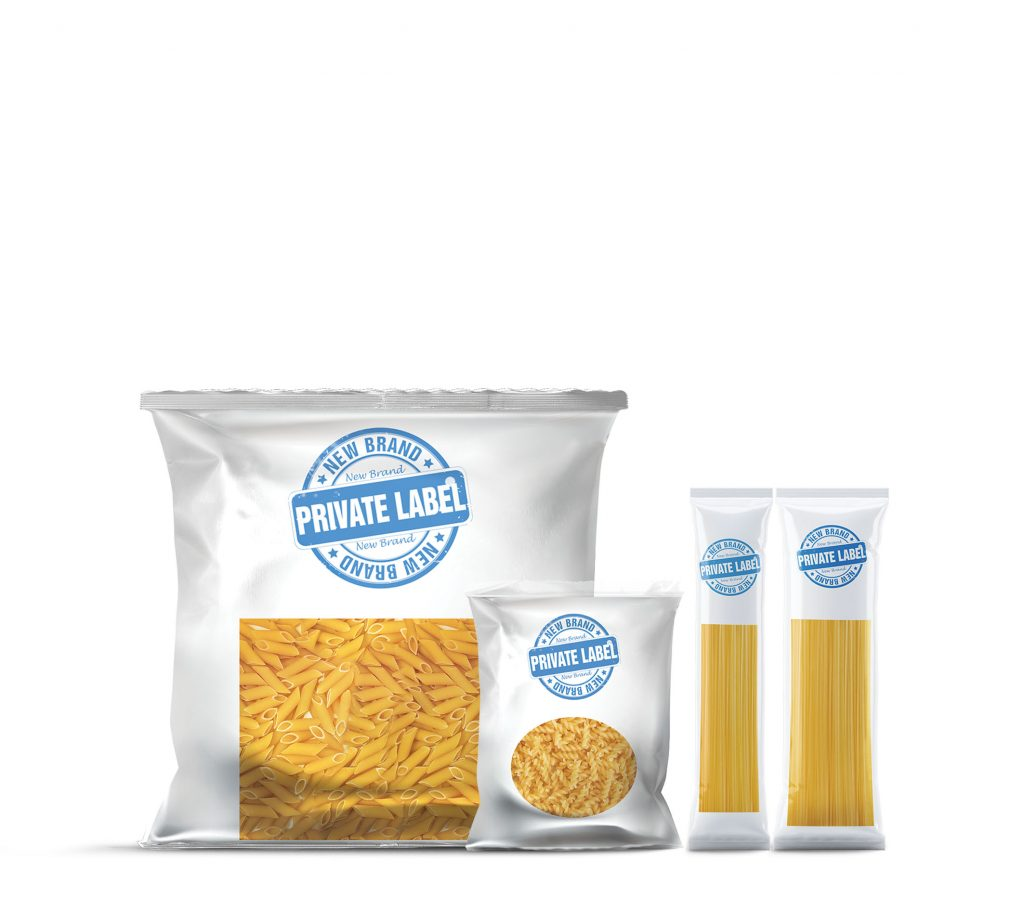 packages of pasta written private label