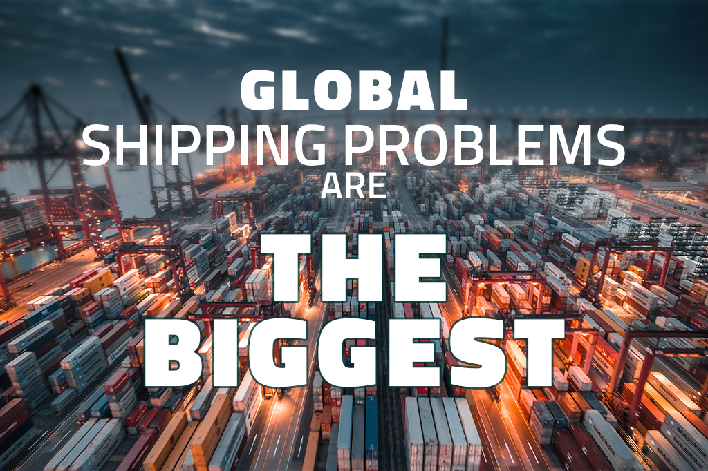 """An image of the port full of containers. """"Global shipping are the biggest"""" is written in the top."""