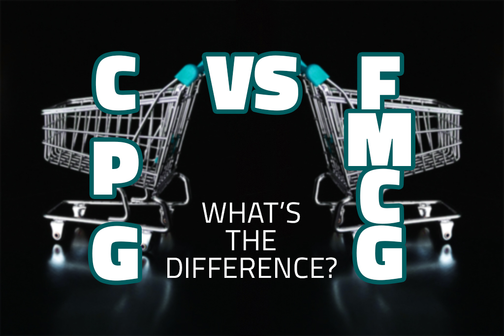 Two grocery carts. The phase CPG VS FMCG What is de diffference? is placed between them.